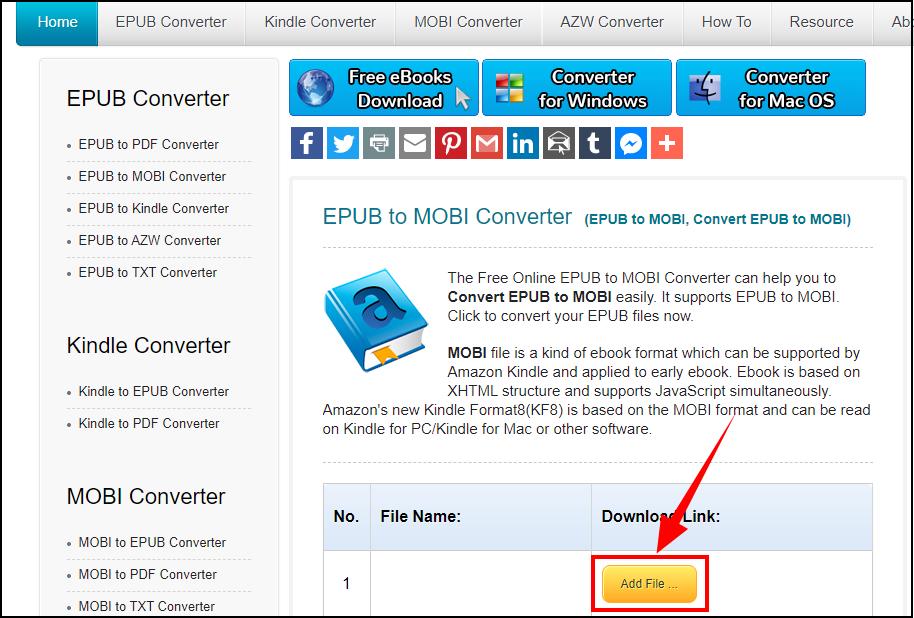 Convert ePub to Mobi