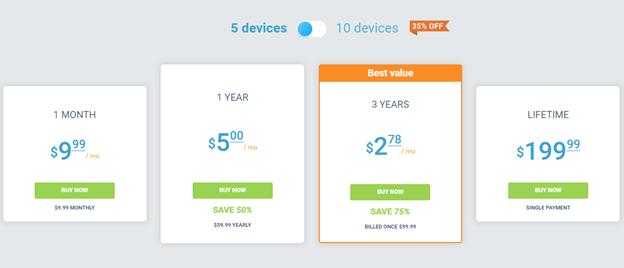 price 5 devices